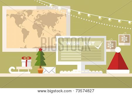 santa claus workstation on green background