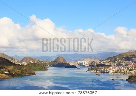 View Of Vitoria, Vila Velha, Bay, Port, Ships, Espirito Santo, Brazil