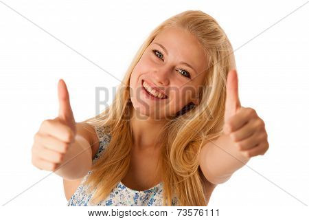Young Business Woman With Blonde Hair And Blue Eyes Gesturing Success Showing Thumb Up Isolated Over