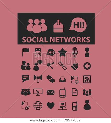 social media, networks black icons, signs, illustrations set, vector
