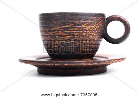 Cup And Saucer Made Of Wood