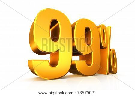3D Render Text In 99 Percent In Gold