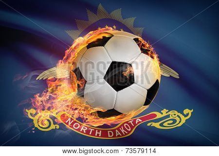 Soccer Ball With Flag On Background Series - North Dakota