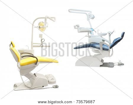 Stomatological chair isolated under the white background
