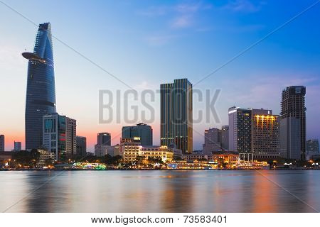 Saigon (ho Chi Minh City), Vietnam - January  2014: Skyline Of Saigon With Saigon River