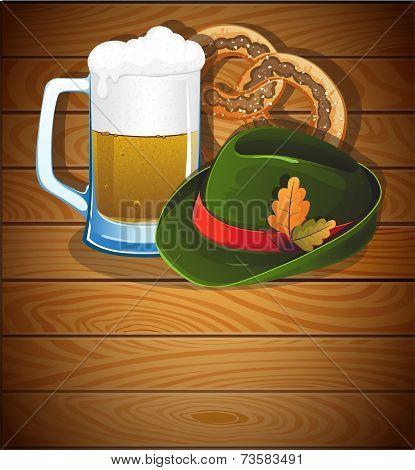 Beer Glass, Pretzel And  Oktoberfest Hat