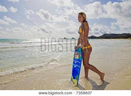 teenage girl with boogieboard