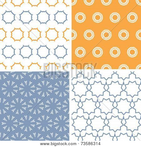 Four abstract arrows and circles motives seamless patterns set