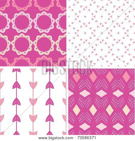 Four abstract geometric pink seamless patterns set