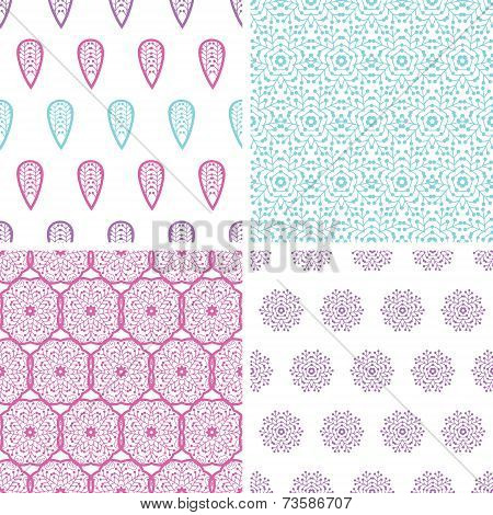 Four abstract feather motives seamless patterns set