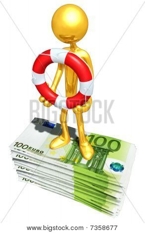 Gold Guy With Life Ring On Money