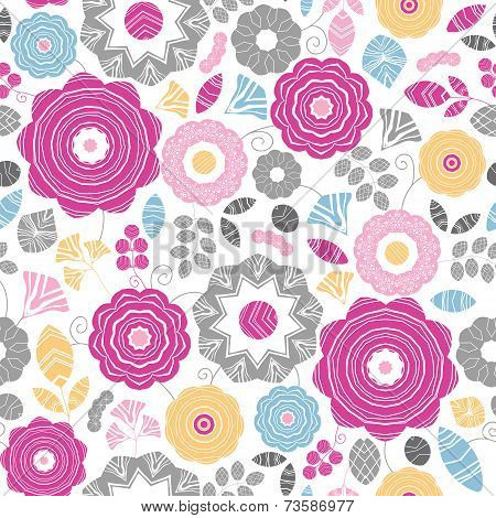 Vibrant floral scaterred seamless pattern background