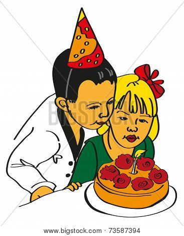 Girl And Boy Blow Out The Cake