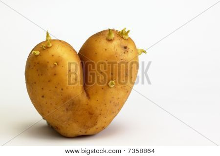 Potato In Shape Of Flaming Heart