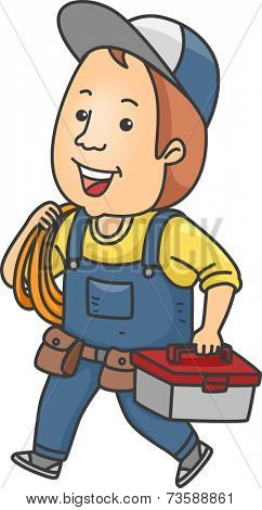 Illustration Featuring a Handyman Carrying a Tool Kit and Some Rope