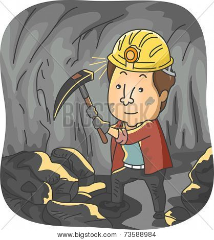 Illustration Featuring a Man Mining Coal