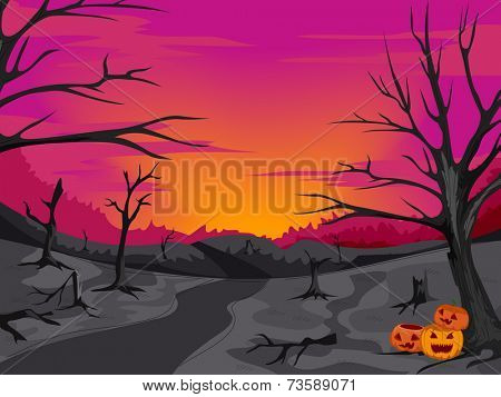 Halloween-Themed Illustration Featuring a Creepy Path in the Woods