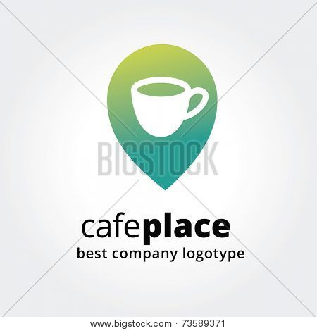 Abstract vector coffe cup marker for maps logotype concept isolated on white background. Key ideas is business, coffe, break, pause, maps, food and restaurant. Concept for corporate identity and