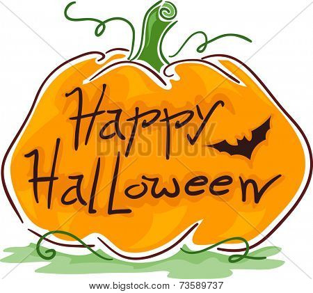 Illustration Featuring a Pumpkin With Halloween Greetings Carved on It
