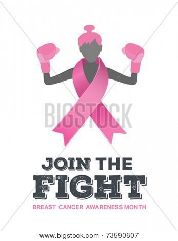 Digitally generated Breast cancer awareness vector with fighting girl