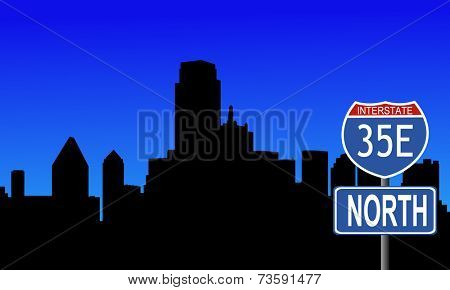 Dallas skyline with interstate 35E sign vector illustration