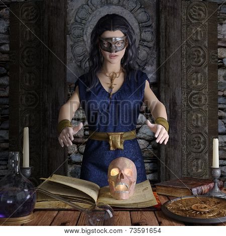 Beautiful witch making the witchcraft halloween background