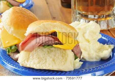 Roast Beef Slider Close Up