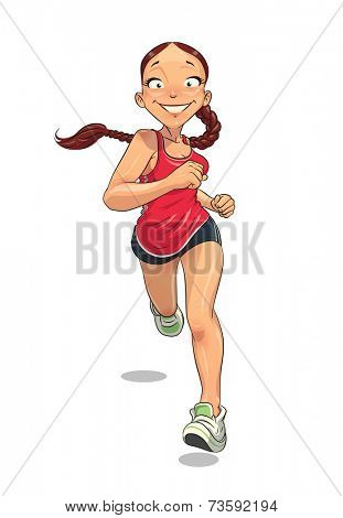 Sport. Running girl. Eps10 vector illustration. Isolated on white background