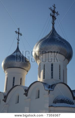 Cupolas And Crosses Of Sophia Cathedral, Vologda, Russia