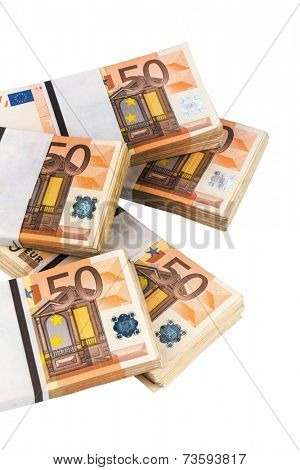 stack of many fifty euro bills. symbol photo for money, wealth, income and expenditure