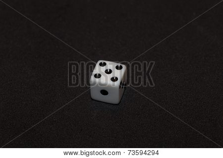 White Dice With Black Numbers In Black Background, Number Five