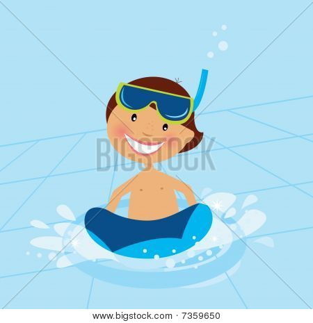 Small boy swimming in water pool