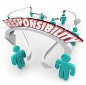 image of responsible  - Responsibility 3d word on arrows connecting people in a workplace or ogranziation as delegation of work - JPG