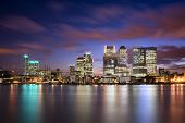 picture of canary  - Colorful sunset over Canary Wharf London skyline
