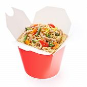 foto of lunch box  - Noodles with pork and vegetables in take - JPG