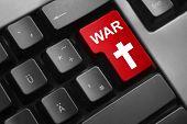 image of kill  - dark grey keyboard red enter button cyber war kill - JPG