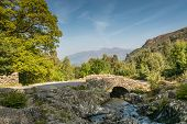 image of mountain-ash  - Ashness Bridge with Derwent Water Keswick and Mount Skiddaw beyond is an old single track packhorse bridge - JPG