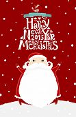foto of christmas greetings  - Santa Claus with Merry Christmas Label for Holiday Invitations and Greeting Cards - JPG