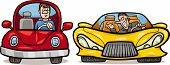 stock photo of maliciousness  - Cartoon Illustration of Man in Retro Automobile and Malicious Driver in Sports Car - JPG