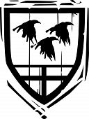 stock photo of arthurian  - Woodcut style Heraldic Shield with Ravens or crows - JPG