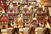stock photo of alsatian  - Traditional alsatian houses on the Christmas market - JPG