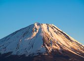 picture of mount fuji  - The top of Mount Fuji covered in snow - JPG