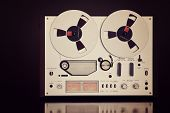stock photo of analogy  - Analog Stereo Open Reel Tape Deck Recorder Vintage For Professional Sound Recording - JPG
