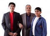 stock photo of east-indian  - Picture of an East Indian grandfather with his two grandsons - JPG