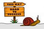 picture of persistence  - An illustration of a snail crawling heading towards success - JPG
