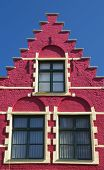 stock photo of gable-roof  - Red gable roof of the historic house  - JPG