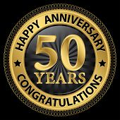 picture of 50th  - 50 years happy anniversary congratulations gold label with ribbon vector illustration - JPG