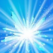 foto of big-bang  - Vector illustration of a crystal with rays coming from the inside - JPG