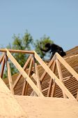 pic of rafters  - A roofing contractor installing rafters at a commercial residential development - JPG