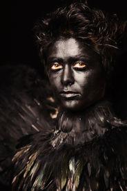 stock photo of azazel  - Woman with harpy makeup  - JPG